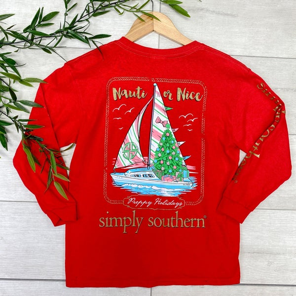 *Simply Southern* Youth Nauti or Nice LS Tee, Red