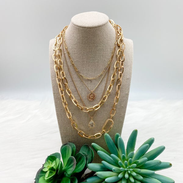 Layered Chain Necklace w/ Coin, Gold