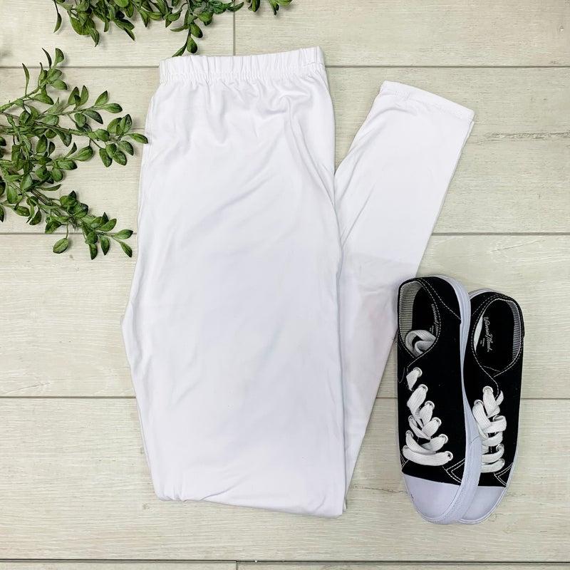 Solid Leggings, White