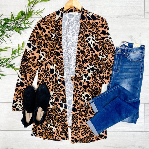 Leopard Print Slouchy Cardigan, Ivory/Brown