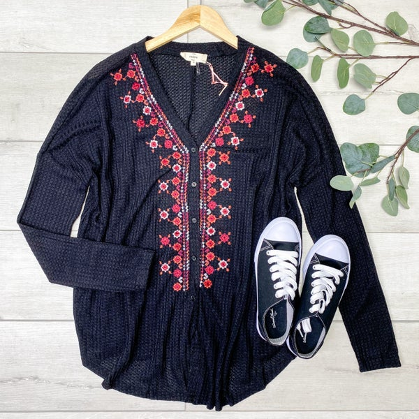 Embroidered Waffle Knit Button Down Top, Black