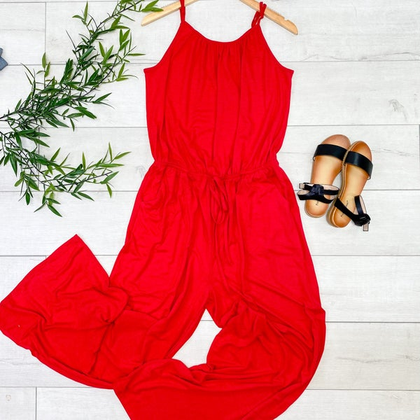 Strappy Adjustable Jumpsuit, Ruby