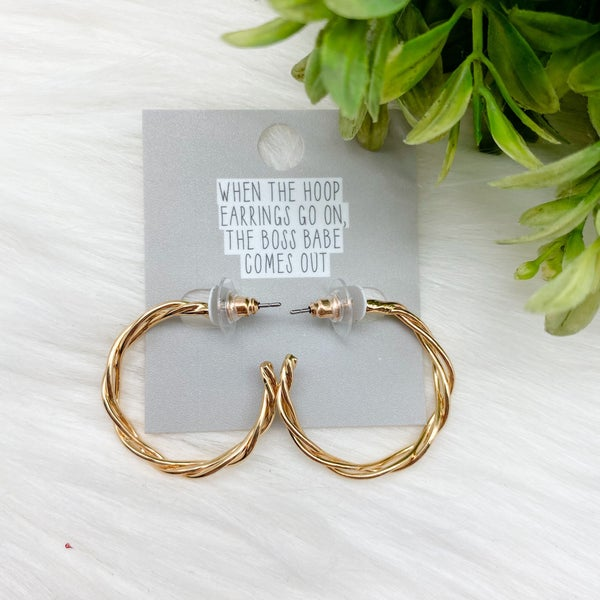 Small Twisted Hoop Earrings, Gold