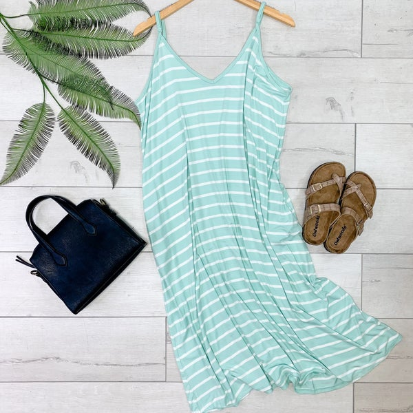 Striped Cami V-Neck Dress, Dusty Mint