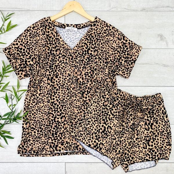 Leopard Print Shorts Set, Camel