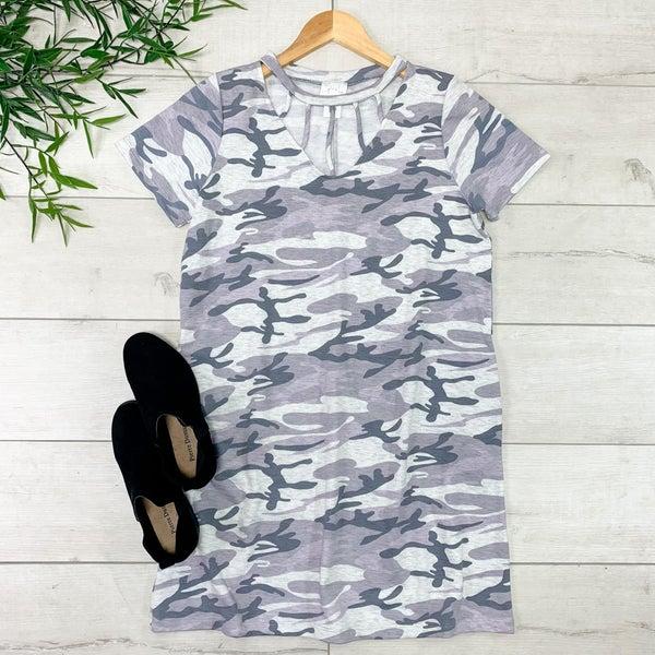 Caged Neck Camo Dress, Gray