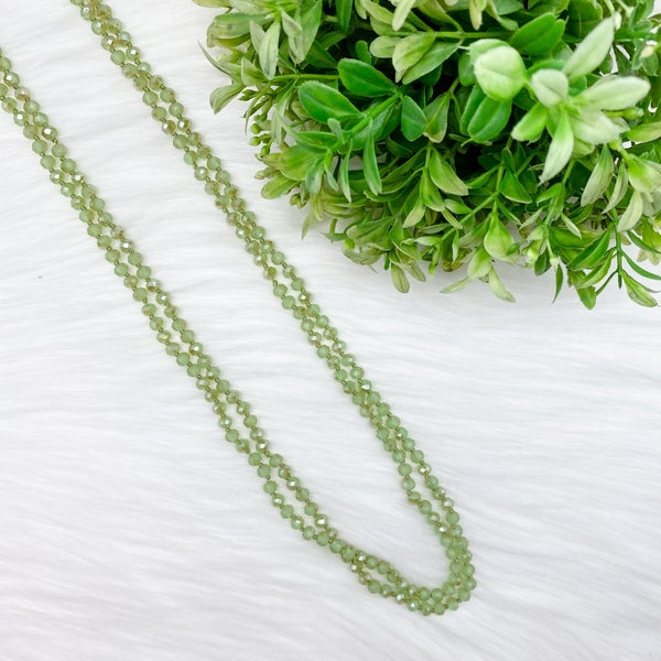 "Crystal Beaded 80"" Long Wrap Necklace, Sage Green *Final Sale*"