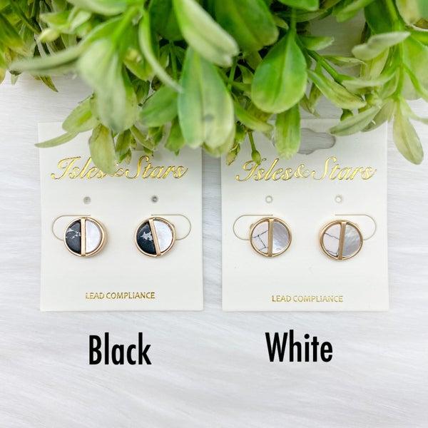Round Half Stone Stud Earrings *Final Sale*