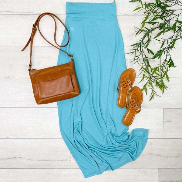 Relaxed Fit Maxi Skirt, Ash Mint [[LIVE]]