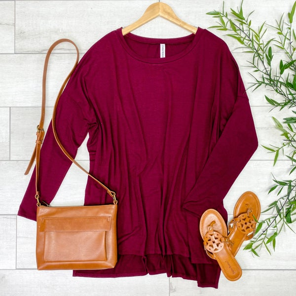 Long Sleeve Hi-Lo Tunic, Dark Burgundy