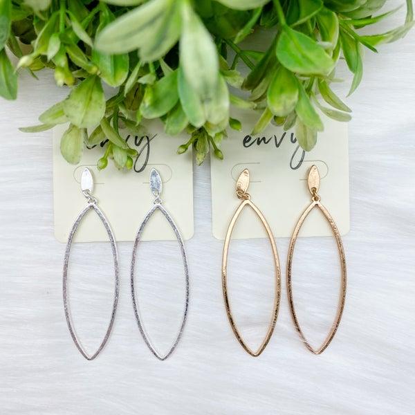 Pinched Oval Metal Earrings *Final Sale*