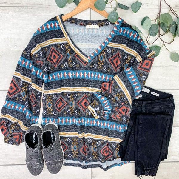 Aztec Patterned Bubble Sleeve Top, Black