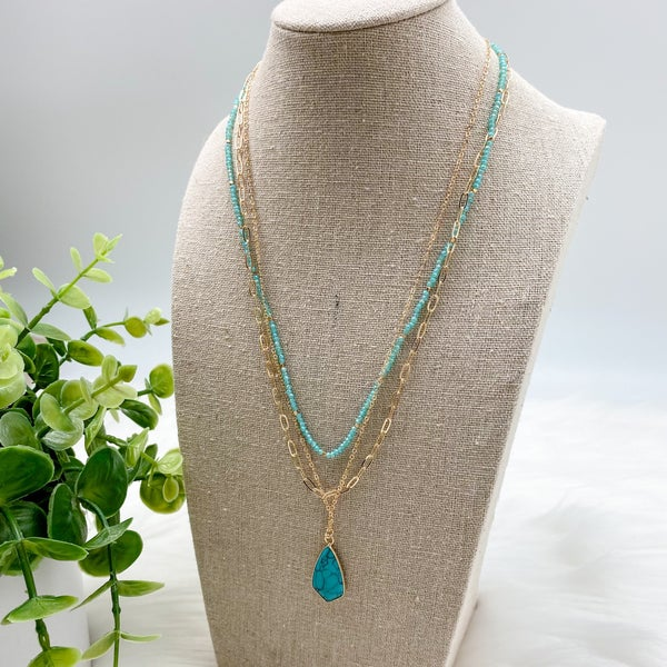 Short Layered Stone Necklace, Turquoise *Final Sale*