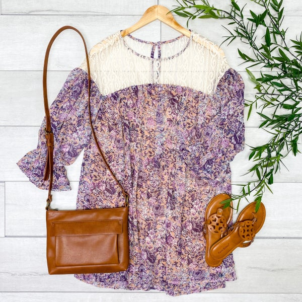 Floral Crochet Detailed Ruffle Sleeve Tunic, Purple