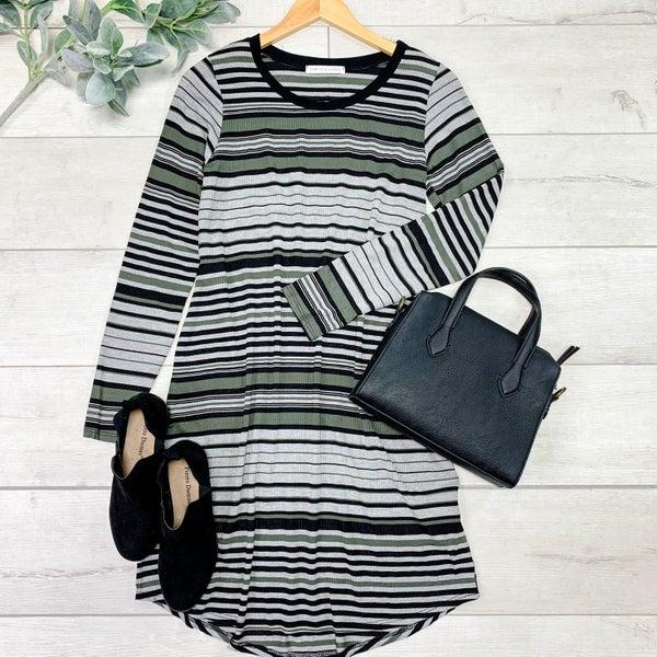 Striped Round Hem Dress, Olive *Final Sale*