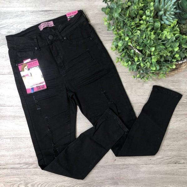 High Rise Distressed Skinny Jean, Black