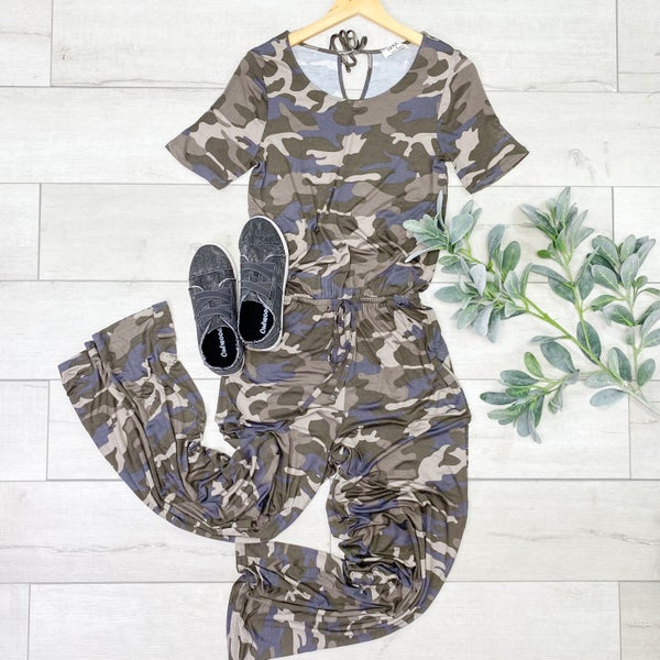 Short Sleeve Jumpsuit w/Pockets, Dusty Camo