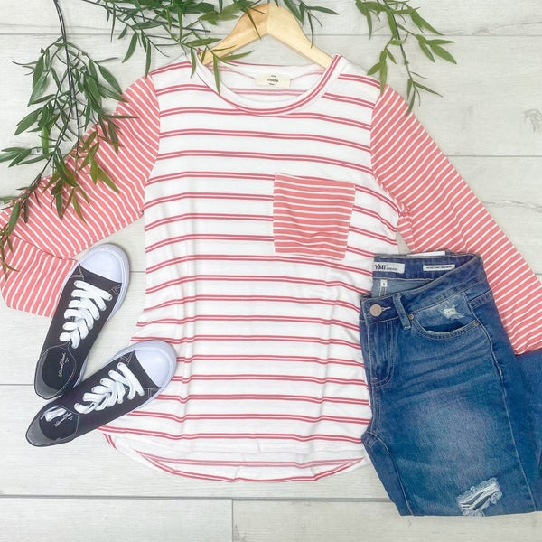 Long Sleeve Contrast Striped Top w/ Front Pocket, Pink