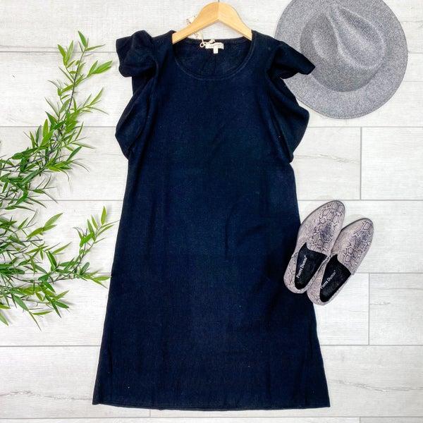 Knit Ruffle Sleeve Dress, Black