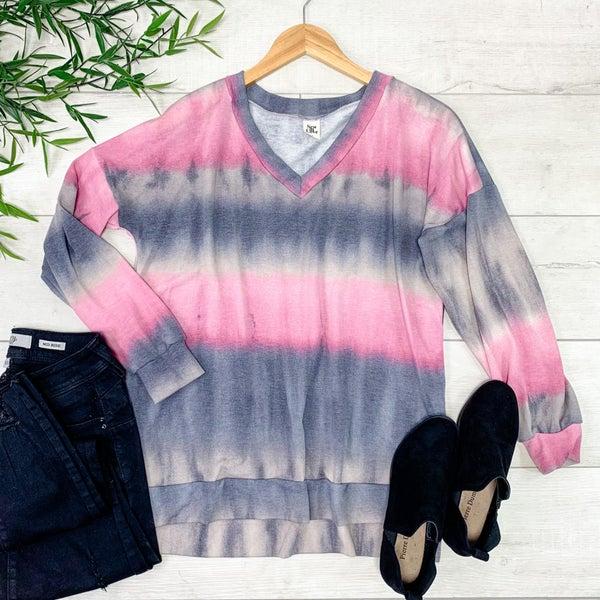 Tie Dye V-neck Top, Pink/Gray