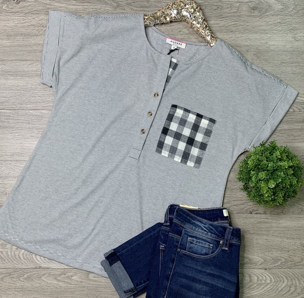 *Kendra's Collection* Striped Half Button Top, Gray