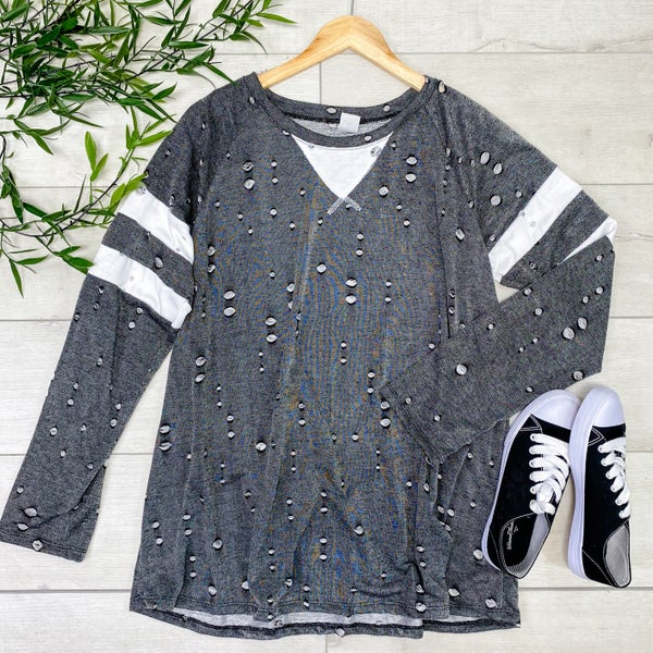 *PLUS* Distressed Raglan Top, Black
