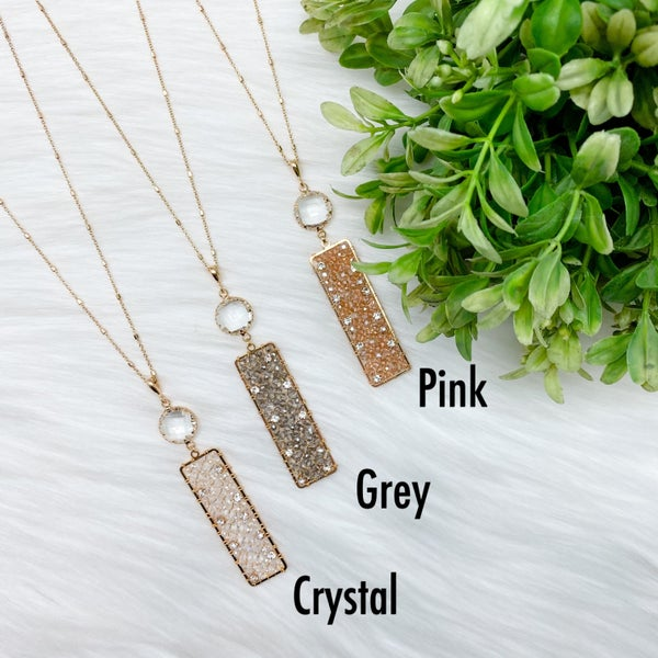 Rectangle Crystal Beaded Long Necklace *Final Sale*