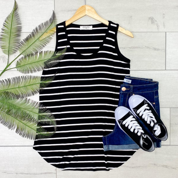 Striped Sleeveless Top, Black [[LIVE]]