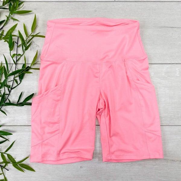 Biker Shorts w/Pockets, Bright Pink