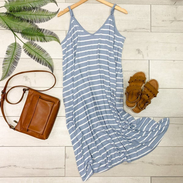 Striped Cami V-Neck Dress, Ash Blue