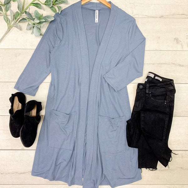 *PLUS* Solid Long Lightweight Cardigan w/ Pockets, Cement