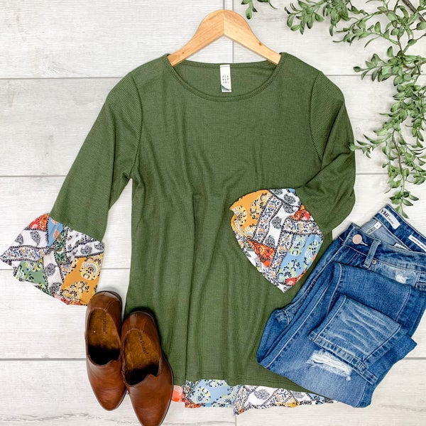 Floral Back and Ruffle Sleeve Top, Olive