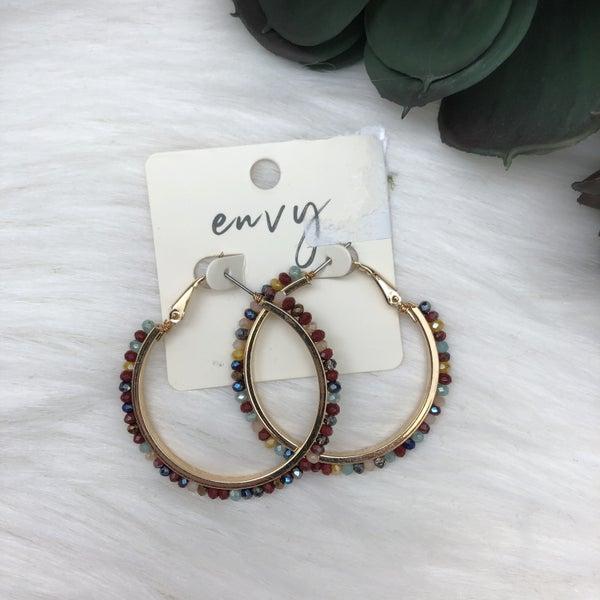 Multi Bead Hoop Earrings