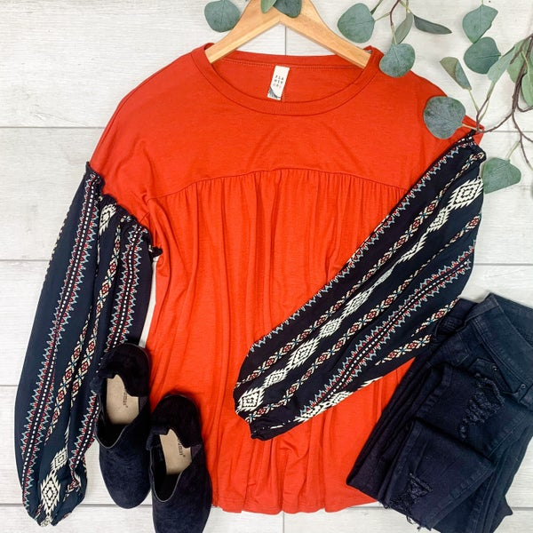 Solid Top w/Patterned Bubble Sleeve, Burnt Orange