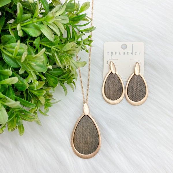 Teardrop w/Wood Accents Necklace + Earrings Set, Grey