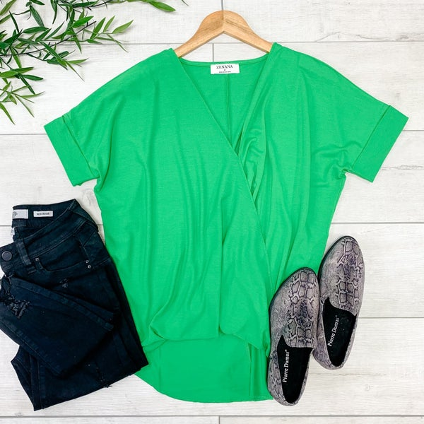 Draped Front Top, Bright Green