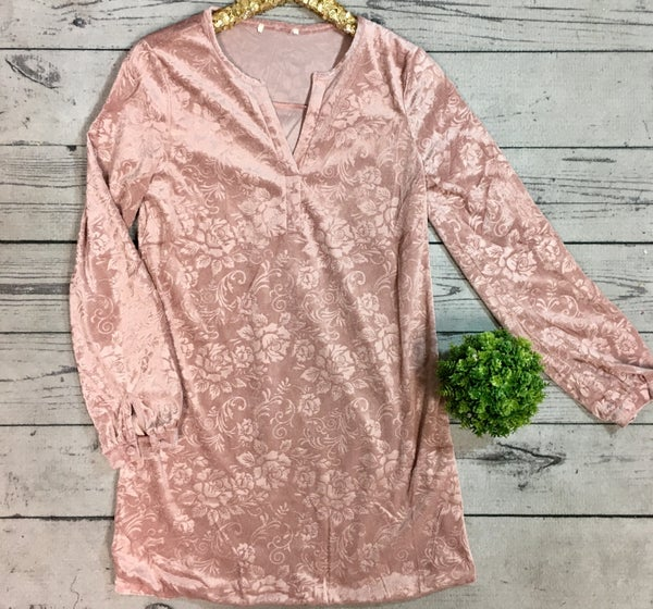Velour Tunic W/Shimmer Floral Print-Mauve (N) *LAST CALL - $5* [FINAL SALE]