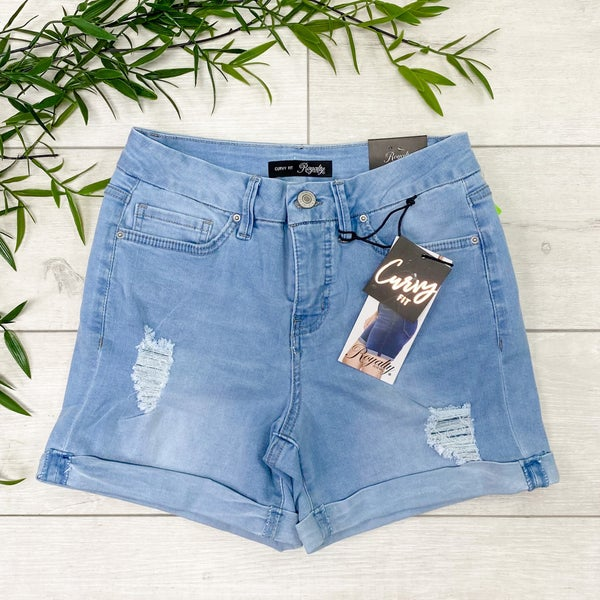 *YMI* Curvy Fit High Waist Cuffed Shorts - Distressed Light Wash