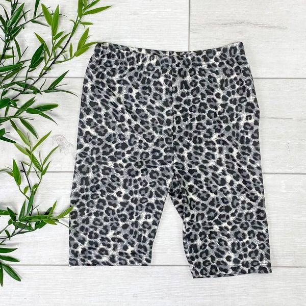 Leopard Print Biker Shorts - GREY