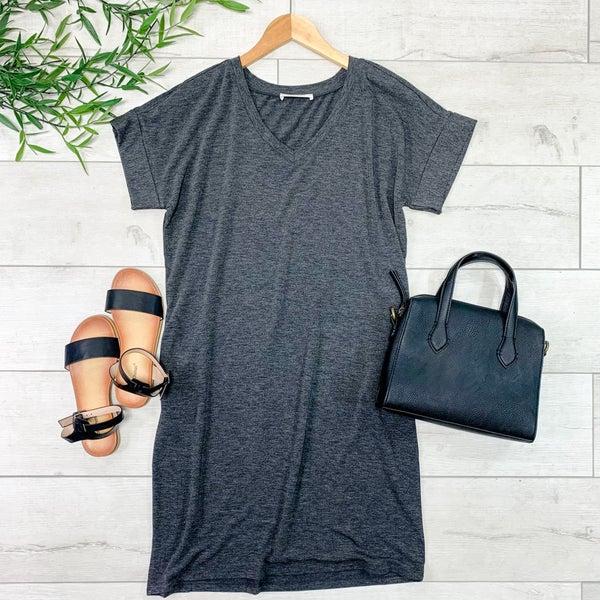 Solid V-Neck T-Shirt Dress, Charcoal