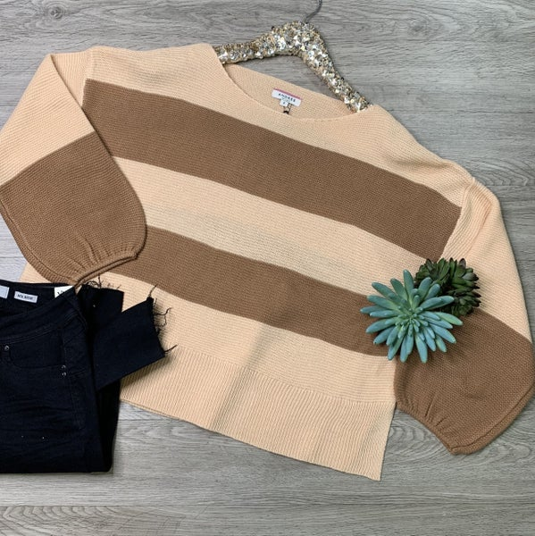 *Kendra's Collection* Round Neck Sweater, Blush/Mocha
