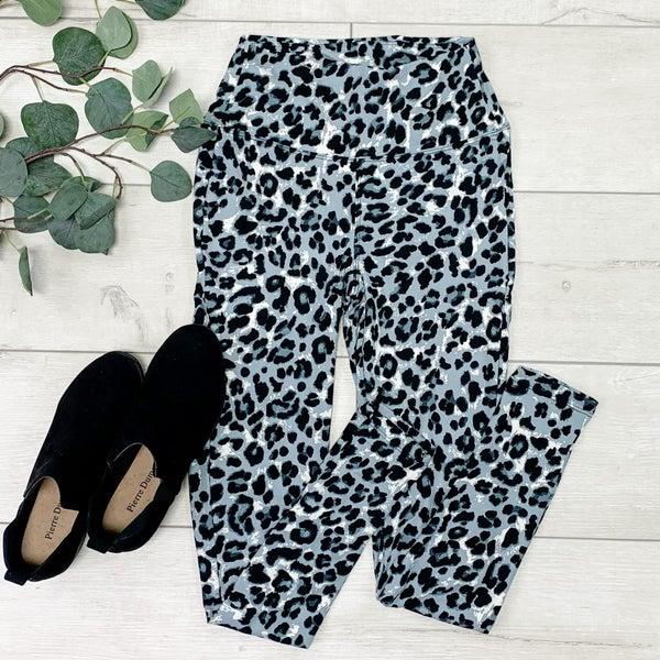 Leopard Print Leggings, Tan Grey