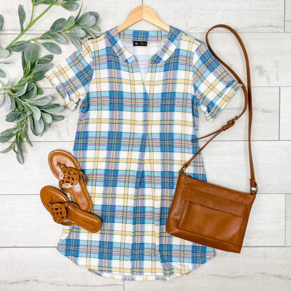 Plaid V-Neck Dress, Aqua
