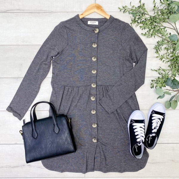 Babydoll Buttoned Cardigan,  Charcoal [[$18--LIVE]]