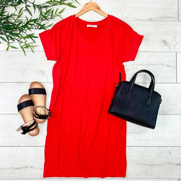 Solid V-Neck T-Shirt Dress, Ruby