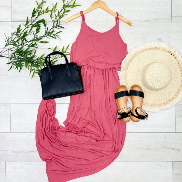 Solid Cami Gathered Waist Maxi Dress w/ Pockets, Rose [[$10--LIVE]]