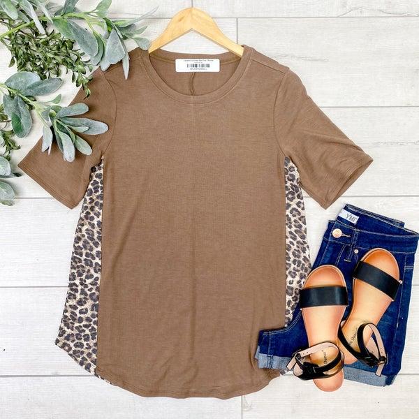 Leopard Contrast Side Top,  Mocha