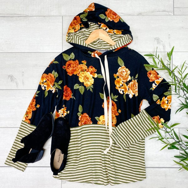 Contrast Stripe and Floral Knit Hoodie, Black