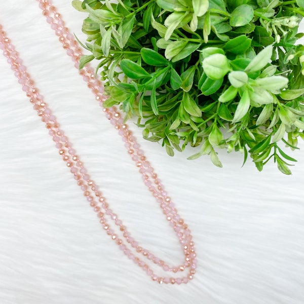 "Crystal Beaded 80"" Long Wrap Necklace, Pink *Final Sale*"