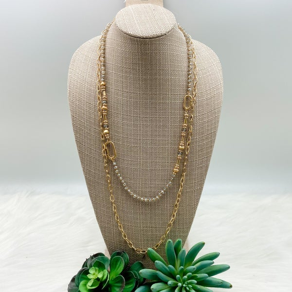 Layered Chain Long Necklace, Grey/ Gold